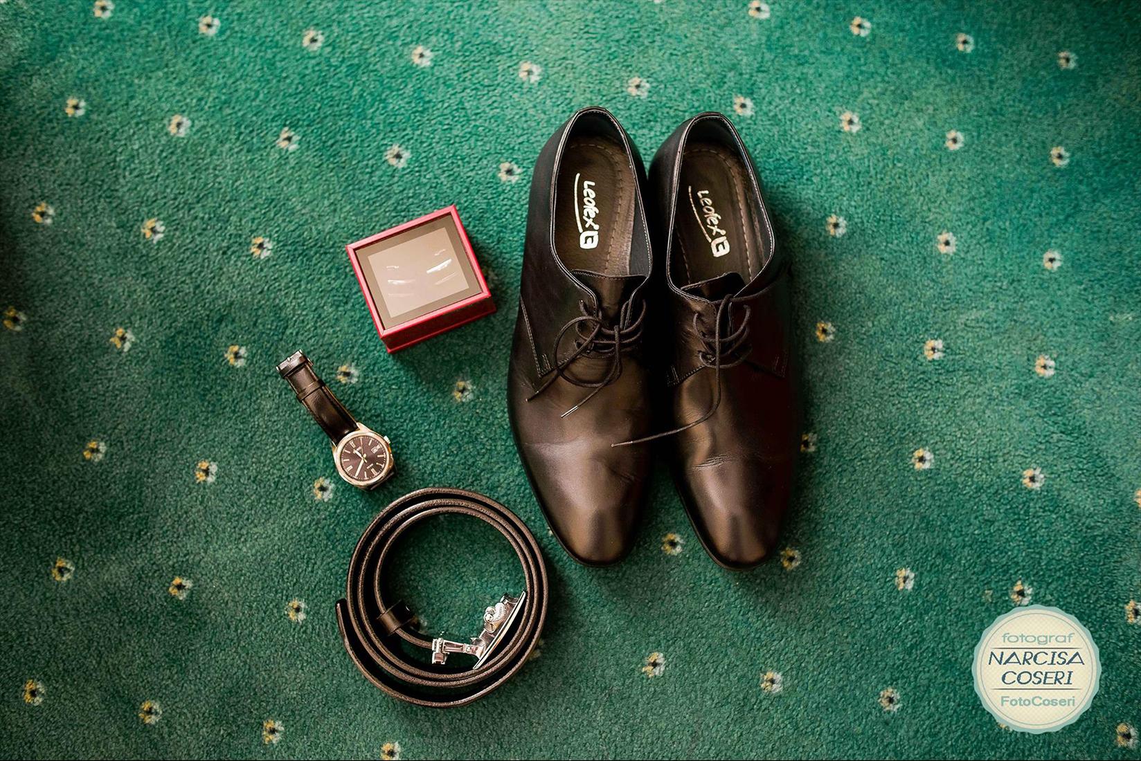 pantofi mire ceas curea butoni